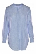 Bariloche Collarless Stripe Roncal Shirt - Blue/White - Roncal