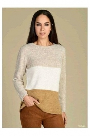 Colour Block Medium Knit Tormes Jumper - Beige - Tormes