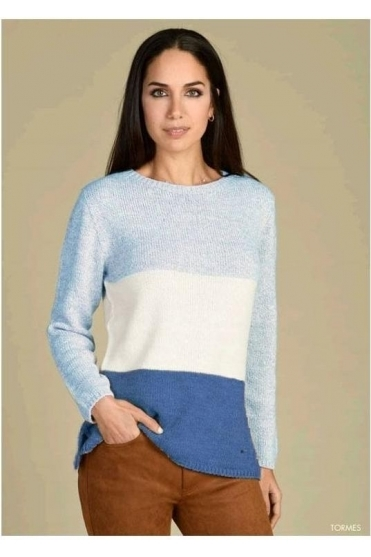 Colour Block Medium Knit Tormes Jumper - Sky Blue - Tormes