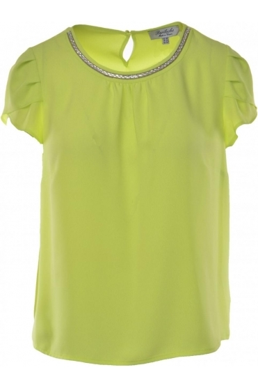 Embellished Detail Dora Blouse - Lime - Dora