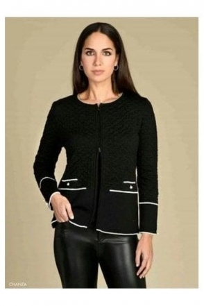 Fine Knit Textured Chanza Caridgan  - Black - Chanza