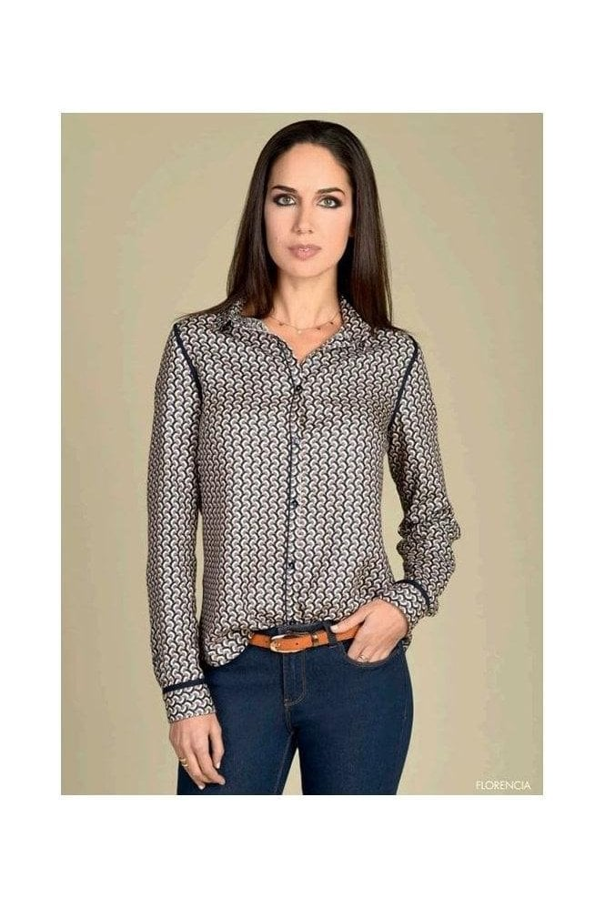 Bariloche Geometric Print Soft Touch Blouse - Navy/Multi - Florencia