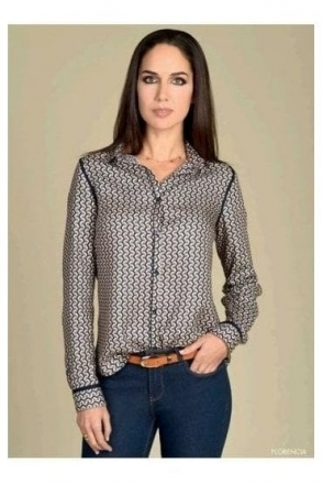 Geometric Print Soft Touch Blouse - Navy/Multi - Florencia