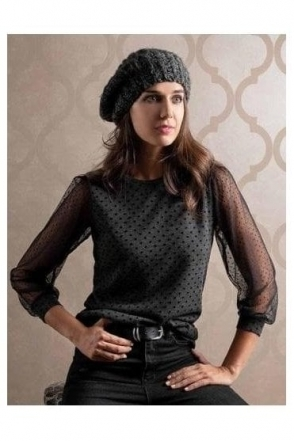Mesh Sleeve Spot Print Jumper - Black/Grey - Roma