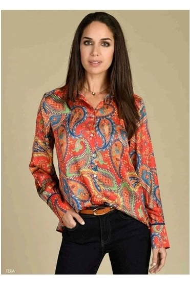 Paisley Print Silk Touch Blouse - Orange - Tera