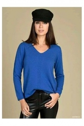 Rib Detail Fine Knit Baterno Jumper - Medium Blue - Baterno