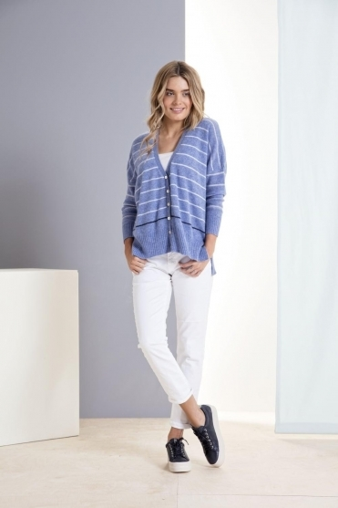 Stripe Miss Houston Cashmere Cardigan - 1617-768