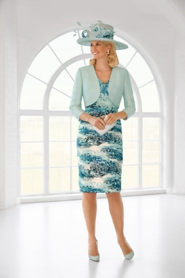 Pleated Print Detail Two Piece - Jade Frost - 11310