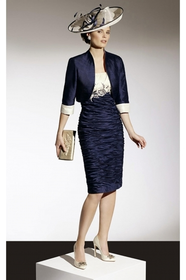 Ruched Floral Detail Two Piece - Rich Navy/Cream - 90359