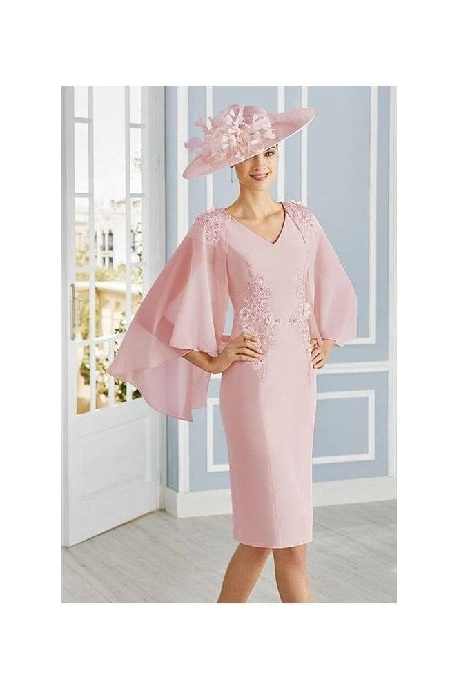 Couture Club by Rosa Clará Chiffon Cape Detail Dress - Rose - 4G189