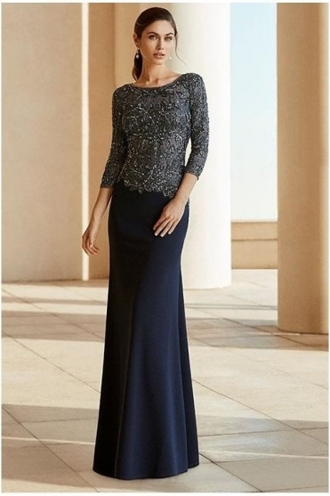Embellished Detail Evening Gown - Marine - 4T144