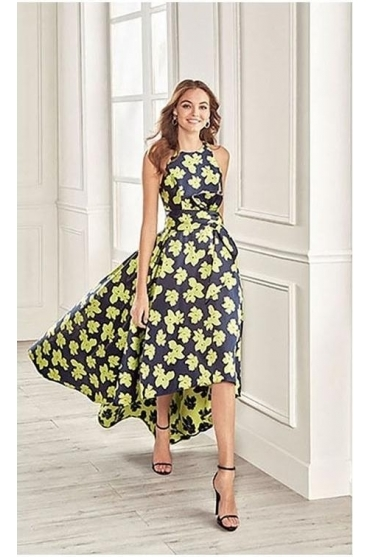 Floral Dipped Hem Dress - Green/Marine - 4U1B6