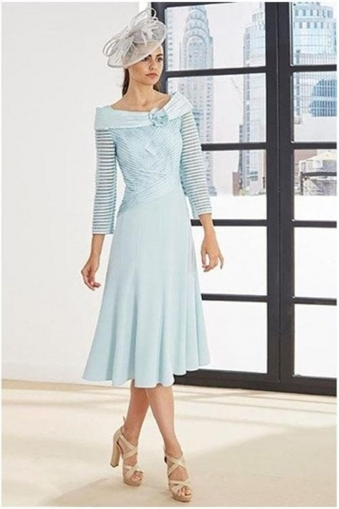 Linear Detail Dress - Aqua - 3G184