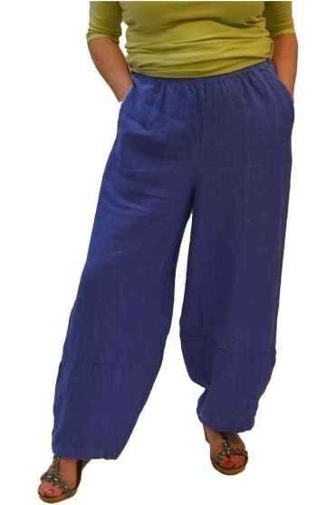 Lantern/Balloon Style Linen Pants - Morning Glory - 4402388