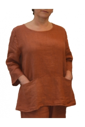 Linen Pocket Top - Tandoori - 4407943