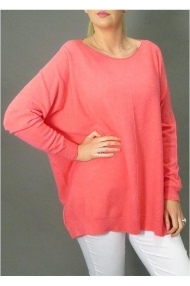 Centre Seam Long Knit Jumper - Coral - 82058