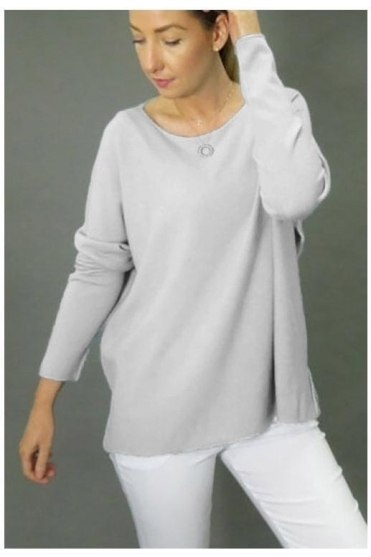 Extended Neckline Soft Knit Jumper - Pearl Grey - 705