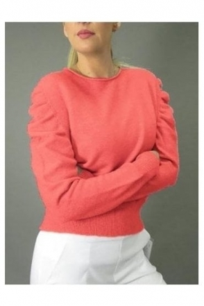 Puff Sleeve Soft Knit Jumper - Coral - 37017