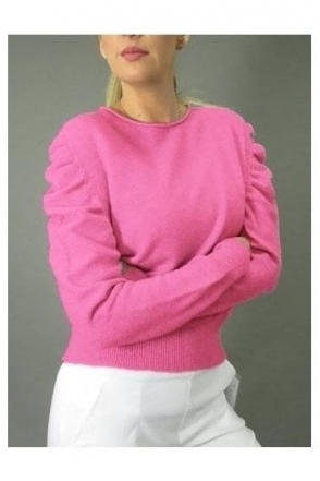 Puff Sleeve Soft Knit Jumper - Fuchsia - 37017
