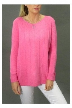 Vertical Seam Box Knit Jumper - Fuchsia - 270184
