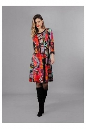 "Abstract Print ""Michelle Louis"" Inspired Dress - Black/Multi - 70626"