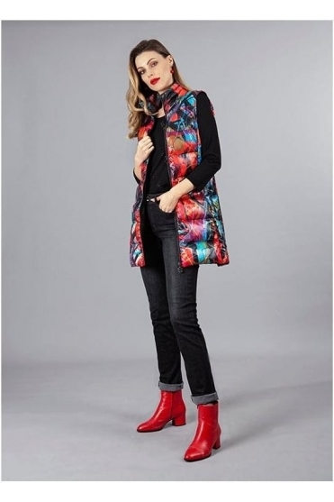"Abstract Print ""Michelle Louis"" Inspired Gilet - Black/Multi - 70801"