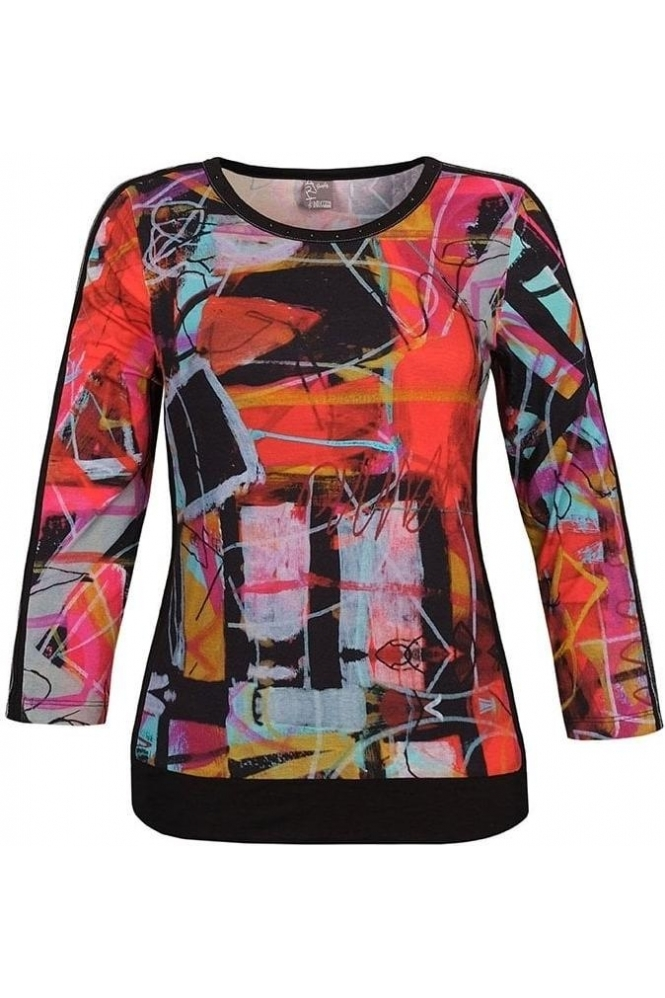 "Dolcezza Abstract Print ""Michelle Louis"" Inspired Top - Black/Multi - 70621"