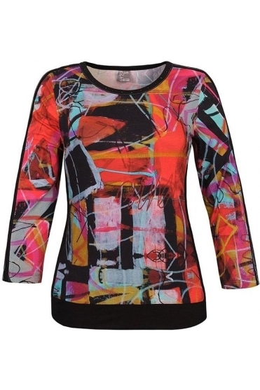 "Abstract Print ""Michelle Louis"" Inspired Top - Black/Multi - 70621"