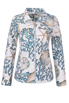 Beach Theme Print Zip Shirt - Off White - 21760