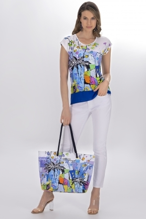 Graphic Floral Print Round Neck Top- White - 21661