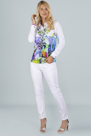 Graphic Floral Print Shirt - White - 21664