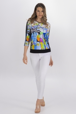 Graphic Floral Print Top - White - 21662