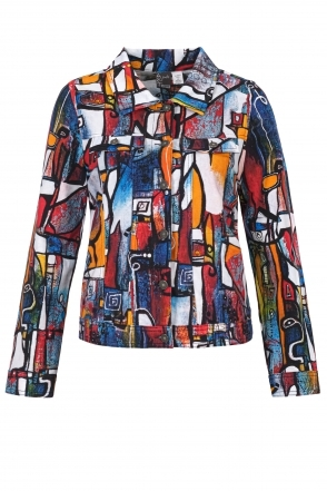 """It's Complicated"" Abstract Print Denim Style Jacket - Multi - 21718"