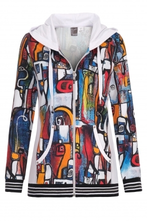 """It's Complicated"" Abstract Print Hoodie - Multi - 21713"