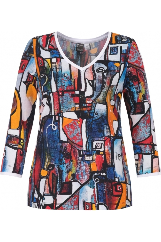 "Dolcezza ""It's Complicated"" Abstract Print V-Neck Top - Multi - 21710"