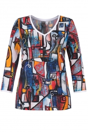 """It's Complicated"" Abstract Print V-Neck Top - Multi - 21710"