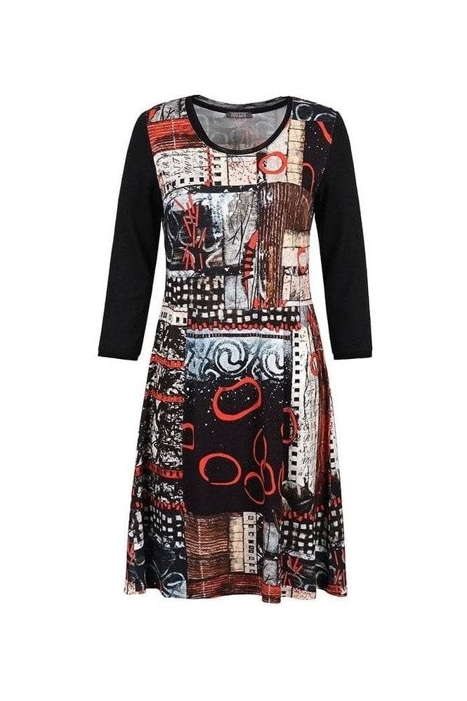 "Dolcezza ""Rising Up"" Abstract Print Dress - Black/Multi - 70715"