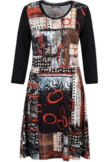"""Rising Up"" Abstract Print Dress - Black/Multi - 70715"