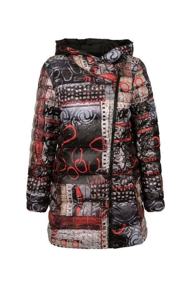 "Dolcezza ""Rising Up"" Abstract Print Quilted Jacket - Black/Multi - 70850"