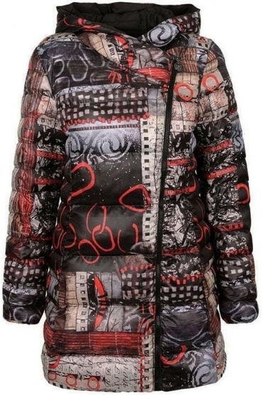 """Rising Up"" Abstract Print Quilted Jacket - Black/Multi - 70850"