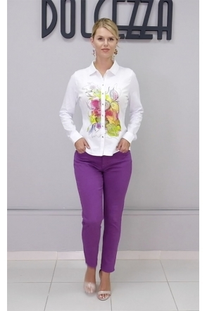 Watercolour Floral Print Motif Shirt - White - 21721