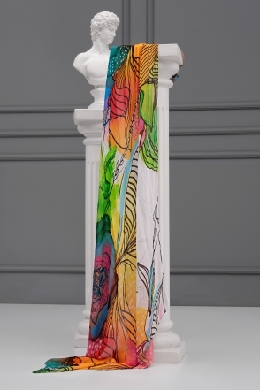 Watercolour Floral Print Scarf - Multi - 21911