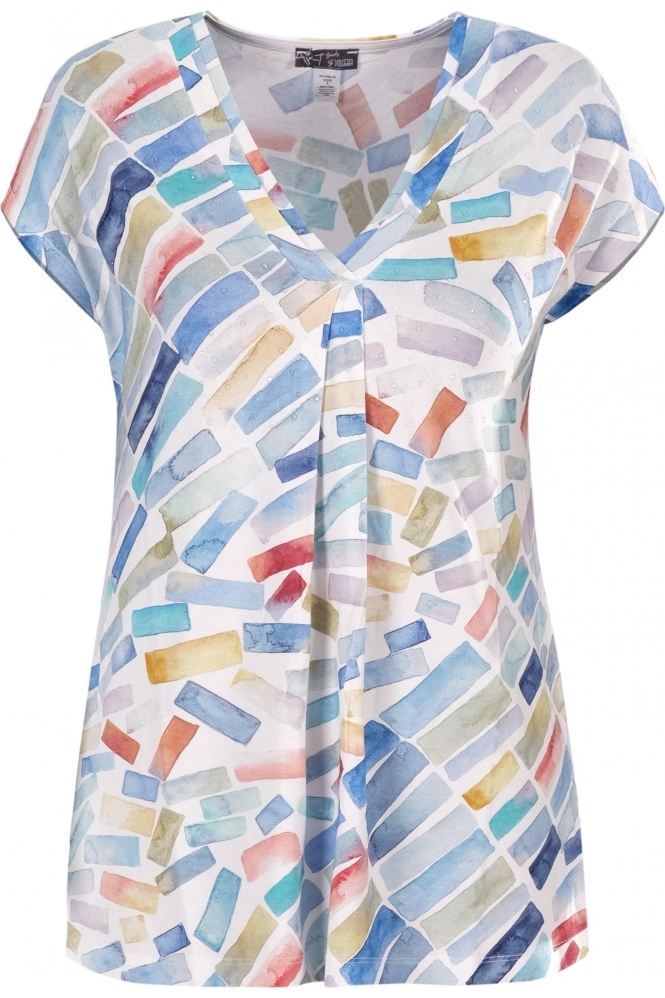 Dolcezza Watercolour Paint Print Top - Multi - 21633