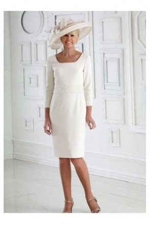 Embellished Detail Cream Dress - DC348S