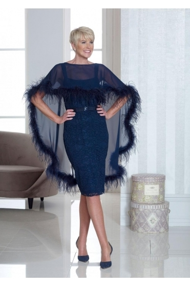 Feather Detail Cape Dress - DC319E
