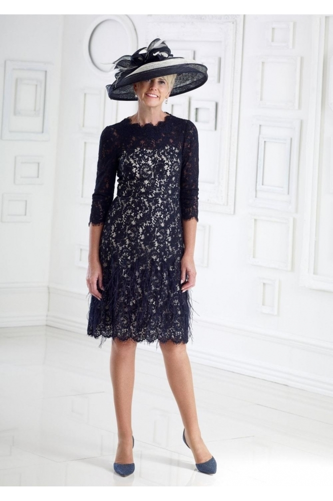 Dress Code by Veromia Lace and Feathers Navy/Ivory Overlay Dress - DC349S