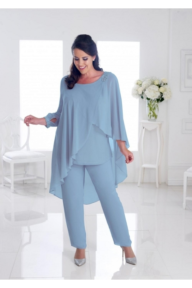 Dressed Up by Veromia Chiffon Overlay Cornflower Blue Two Piece - DU274