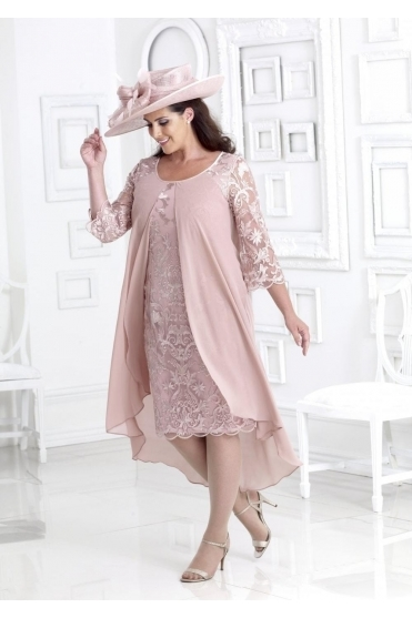 Chiffon Overlay Lace Detail Dress - DU283