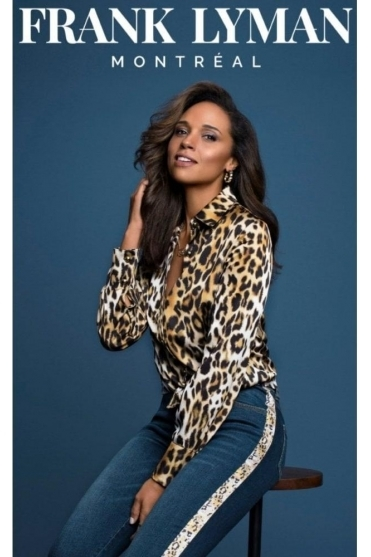 Animal Print Blouse - Black /Camel - 193527