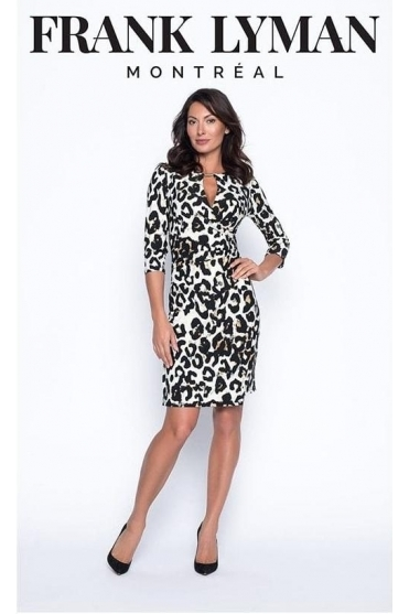 Animal Print Ruched Wrap Dress - Black/Caramel - 194609